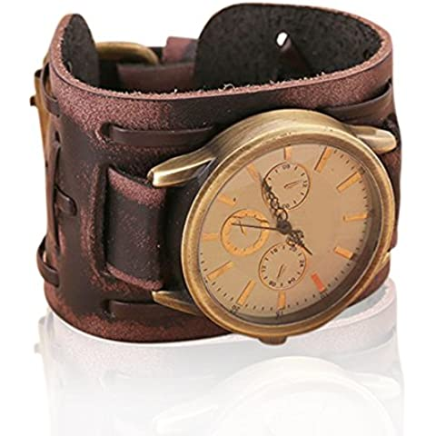 CreaTion® New Style Retro Punk Rock Brown Big Wide Leather Bracelet Cuff Men Watch Cool ( brown(B))