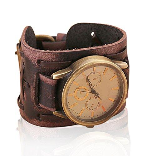 Creation® Retro braccialetto punk di nuovo stile della roccia Brown Big Ampia Bracciale in pelle Uomini Orologio fresco ( brown(B))