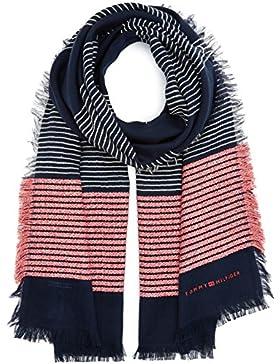 Tommy Hilfiger Damen Schal Wooly Stripes Scarf, Blau (Tommy Navy 413), One size (Herstellergröße: OS)