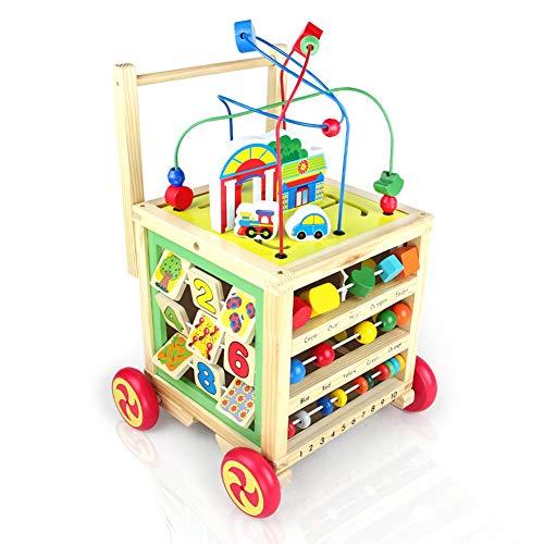 rnhilfe Holz Laufwagen für Babys ab 1 2 3 Jahre,7 in 1 Baby Walker mit Gummierten Holzrädern Babyspielzeug ()