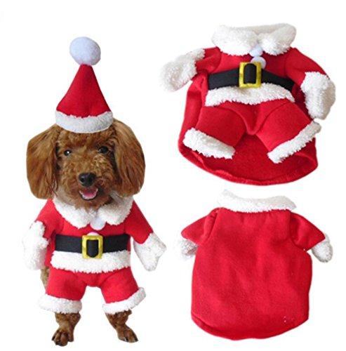 YARBAR Pet Natale vestito di costumi Cane con la protezione di Santa Suit cane cappuccio Pet Abbigliamento Rosso
