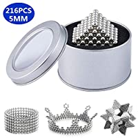 Yetech Silver Magic Building Toys, 5MM Magic Blocks Sculpture Toys for Intelligence Learning, Stress Relief & Gift for Adults(216pcs)