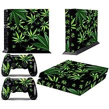 Skin Designer per PS4 Playstation 4 Console + controller Dualshock Decals Weeds Black