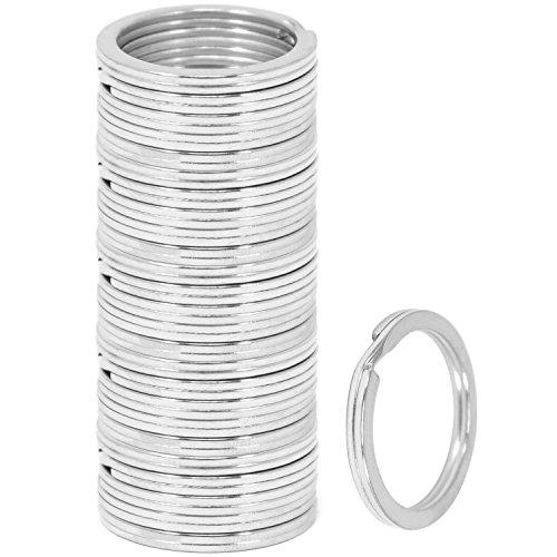 com-four® 25x Schlüsselringe aus Eisen, Sortiment Metallringe, flach in silberfarben, Ø 25 mm (025 Stück - silberfarben flach)