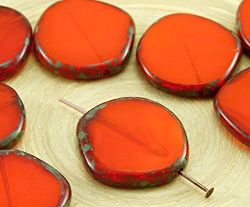 Amber Glas Schneiden (2pcs Picasso Braun Gelb Orange Amber Opal Halloween Flache Runde 8Edge Fenster, Tisch-Cut-Münze Tschechische Glasperlen 22mm)