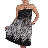 A105 Sommer Bandeau Kleid Holz-Perlen Damen Strandkleid Tuchkleid Tuch Aztec (40 Schwarz)