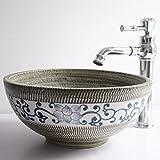 floreale vintage–lavabo in ceramica contatore top lavabo lavaggio ciotola