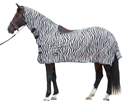 Harry\'s Horse Fliegendecke Mesh Fliegenschutz Zebra Halsteil Sattelöffnung grau (145 cm)