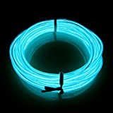 Lerway 3M EL Electroluminescent Wire Led Light Rope Bike Home Garden Kitchen Room Bathroom Car Fashion Cool Decoration Flexible Strip Glowing Lighting Lamp + Controller Box,for Christmas Halloween Decoration,Coffee Restaurant,Bar,In-house (Light blue)