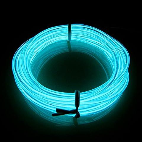 Lerway 3M Fil Neon Flexible EL Wire Lumière, LED Cable Lampes avec Boite a Pile pour Club, Parti de Noel, Fete, Decoration de Voiture/Velo/Bar/Deco/Cuisine- Bleu Clair