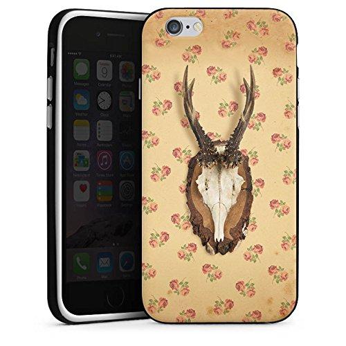 Apple iPhone 6s Silikon Hülle Case Schutzhülle Oktoberfest Geweih Reh Silikon Case schwarz / weiß