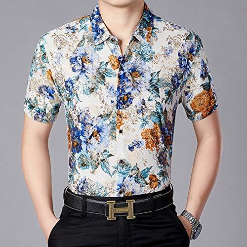 PARKLEES Herren Hipster Floral Kleid ShirtsMarke Neue Silk Satin Hemd Männer Slim Fit Kurzarm Social Hemd Männlich Hochzeit Prom Camisa Silk Floral Kleid