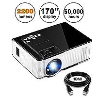 Projector, KUAK Mini Projector 2200 Lumens 170