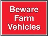 vsafety 76002bf-s General Agrícola señal,Beware granja vehículos, autoadhesivas, paisaje, 400mm x 300mm, color rojo