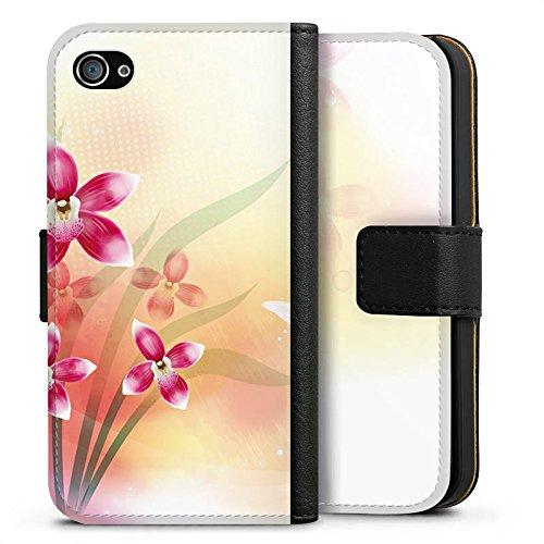 Apple iPhone X Silikon Hülle Case Schutzhülle Orchidee Schmetterling Blume Sideflip Tasche schwarz