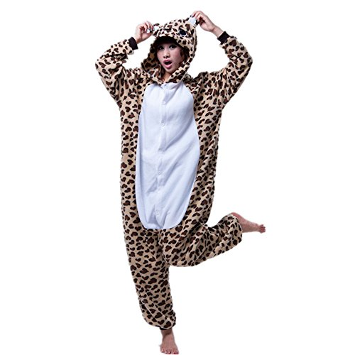Missley Einhorn Pyjamas Kostüm Overall Tier Nachtwäsche Erwachsene Unisex Cosplay (S, Leopard ()