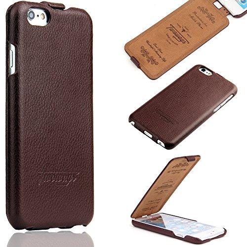 Handgefertigte Leder (iPhone 6s / 6 Hülle - ECHT LEDER - HANDGEFERTIGT - RUNDUMSCHUTZ Zubehör Case Etui IPhone Flip Case Schutzhülle von TWOWAYS - Farbe Braun)
