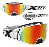 TWO-X Rocket Crossbrille Weiss Glas verspiegelt Iridium MX Brille Nasenschutz Motocross Enduro Spiegelglas Motorradbrille Anti Scratch MX Schutzbrille Nose Guard