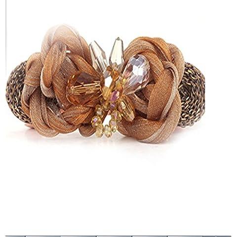 F&HY&L Tessuto coreano moda cristallo amorevole farfalla ornamenti clip clip a molla , brown