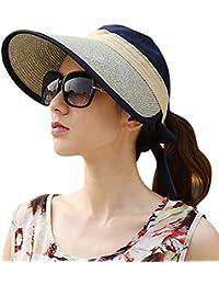 Samber Sombreros Verano con Viseras Grandes Sombreros para Sol para Mujer y  Hombre con Lazo Protección 09a3888c50a