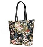 Signare Damen Handtasche/Schultertasche mit Mohnblumen Pfingstrose und Gartenblumen, Pink (Pfingstrose), Large
