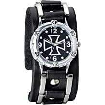 Avaner Herren Punk Collection Cross Analog Quarz Wide Schwarz Leder Gürtel Cuff Armband Sportuhr