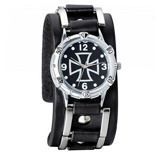 Avaner Reloj de Pulsera Punky Rock Grande Reloj Hip Hop para Hombre, Cruz Reloj de Cuero Negro, Cuarzo Reloj Deportivo Original