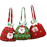 3pcs Sacchetto della Caramella di Babbo Natale Pupazzo di Neve Borsa di Regalo Sacchetti di Caramella per Decorazioni di Feste Natalizie da Pingenaneer - Rosso e Verde