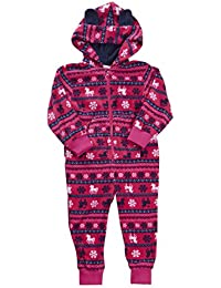 Kids Infant Girls Micro Fleece Pony Unicorn Hooded All In One Pyjamas With Ears Ages 2-6 Years