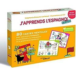 J'apprends l'espagnol autrement - Niveau débutant. (coffret): 80 cartes mentales pour apprendre facilement la conjugaison, la grammaire et le vocabulaire espagnols !