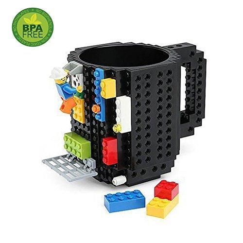 Creative Eco-friendly Building Blocks Plastique Café Tasse de briques de bricolage (Black)