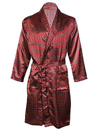 Vestaglia da uomo in raso, kimono, pigiama satin, camicia da notte Maroon Gown XX-Large