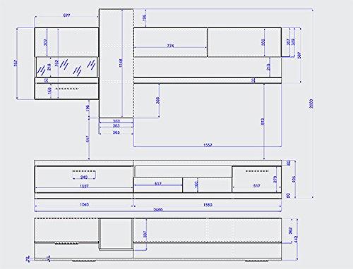 Wohnwand Anbauwand 1689131 nussbaum / weiß Hochglanz - 2