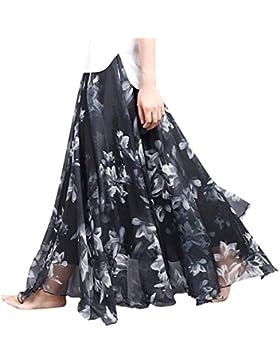 Feoya - Falda Larga de Estampado de Flores de Gasa para Mujer