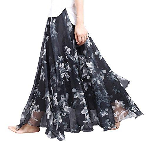 Feoya - Falda Larga Estampado Flores Gasa Mujer, Negro