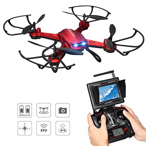 Potensic Drone Altitud Hold, CámaraHD 2MP, WiFi FPV 5.8GHz 4CH 6-Axis Gyro RC Quadcopter, Modo sin Cabeza, Función Giros de 360 Grados Automáticos Steples Speed F181DH, Rojo