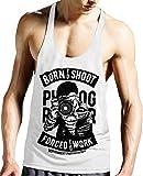 Stylotex Stringer Tank Top Born to Shoot Fitness Gym Shirt, Größe:L, Farbe:Weiss