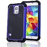 SAVFY Samsung Galaxy S5 Funda - 2 en 1 Antivibración Cascara Funda Bolsa Case + Protector de Pantalla Gratuito + Telefono lápiz Pluma Para Samsung Galaxy S5 i9600(El Color Azul)