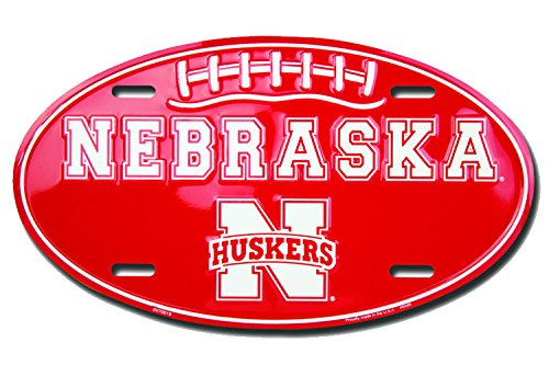 Nebraska Huskers Football Oval Metal License Plate by 49x95