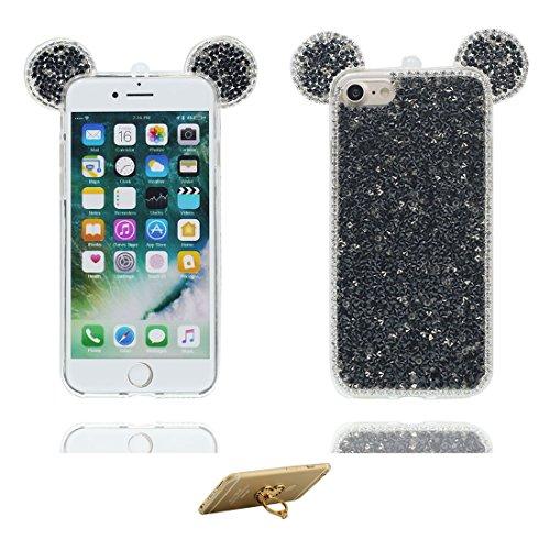 Coque iPhone 7 Plus, [TPU Flexible Bling Diamonds Cute Ear] iPhone 7 Plus étui Cover (5.5 pouces), iPhone 7 Plus Case, anti- chocs- 3D Oreille de souris Cartoon Mouse ear ring Support Soft # 1