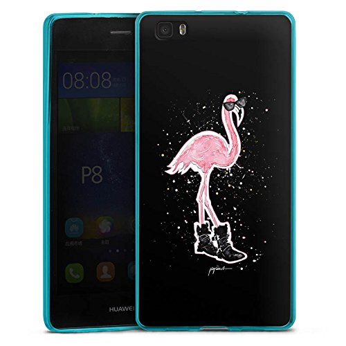 DeinDesign Huawei P8 lite (2015-2016) Slim Case transparent hellblau Silikon Hülle Schutzhülle Flamingo Sonnenbrille Schuhe