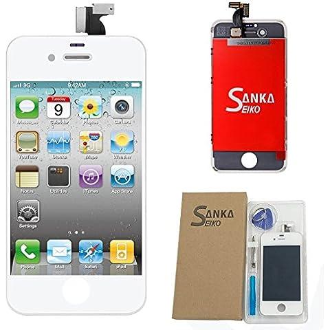 Sanka Pantalla Táctil LCD de repuesto para iPhone 4(GSM model) con herramientas, color blanco