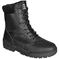 Black Full Leather Army Combat Patrol Boots Tactical Cadet Military Security Police (8 UK)
