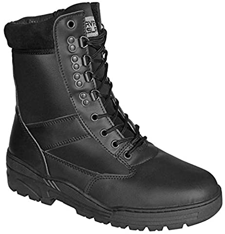 Black Full Leather Army Combat Patrol Boots Tactical Cadet Military Security Police (10 UK)