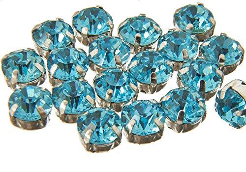 Hochwertige EIMASS®-Strasssteine zum Aufnähen/Aufkleben, geschliffene Glaskristalle in Silber- und Goldhülle, 100 Stück., Aquamarine in Silver Casing, 8 mm ()