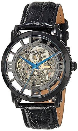 Stuhrling Original 165B.335569 - Montre Automatique - Affichage Analogique - Bracelet Cuir Noir et Cadran Gris - Hommes