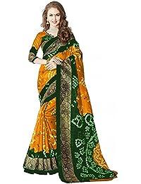 RASHI MARKETING Women's Cotton Silk Saree With Blouse Piece (Yellow & Green)