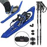 ALPIDEX Raquettes à neige SNOW RUNNER 25 - Raquettes ultralégères avec système de dégagement rapide et sac de transport inclus ; avec bâton télescopique Hiker 5000 en option, sac de transport inclus , Couleur:Blue avec bâtons