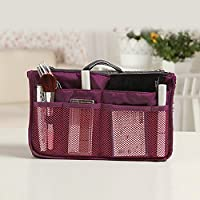 12 Pockets Travel Bag JUYUAN Women's Travel Organiser Handbag Make Up Stylish Handbag(Purple)