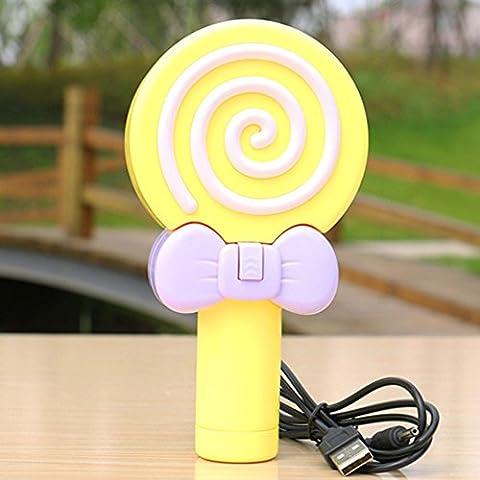 Lovely lollipop small fan s Mini Fan mute plastic students handheld USB fan Yellow